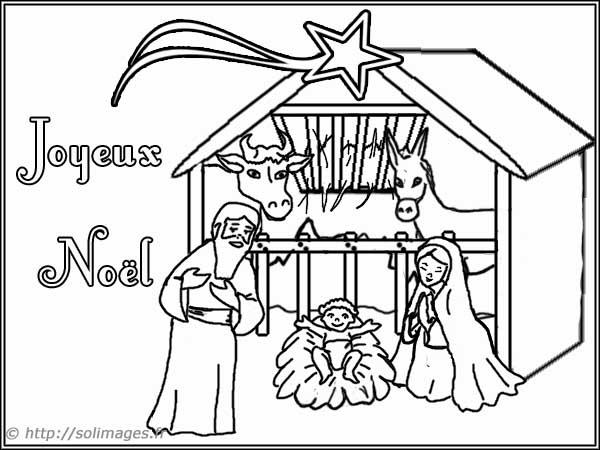 Carte Creche Noel Coloriage